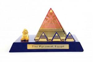 Egyptian Pyramid Crystal 24 Karat Gold Plated-7 Cm