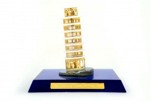 The Leaning Tower of Pisa Crystal 24 Karat Gold Pl...