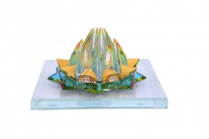 Lotus Temple Crystal 24 karat Gold Plated-15 Cm