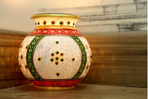 Marble Matki Candle Stand-13 cm