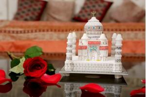 Marble Crafted Multi color Taj Mahal-18 cm
