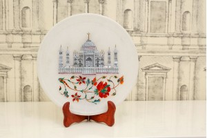 Marble Plate With Inlay Taj Mahal and Floral Carvi...