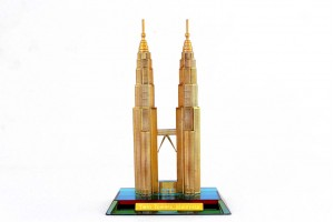 Twin Tower Crystal 24 Karat Gold Plated-16 cm