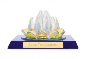 Lotus Temple Crystal 24 karat Gold Plated-7 cm