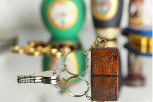 Personalized Wooden Key Chain in 'M' Pattern