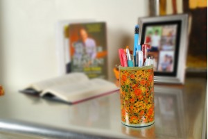 Paper Mache Pen Stand Red floral Design