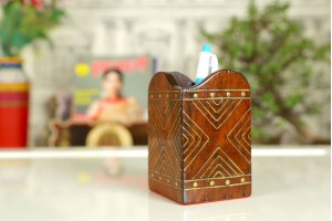 Wood Carved Pen Stand X Pattern