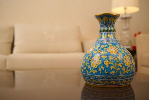 Blue Pottery Floral Design Vase
