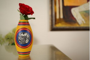 Terracotta Dholak Shape Vase-16 cm