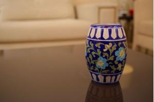 Blue Pottery Drum Shaped Vase