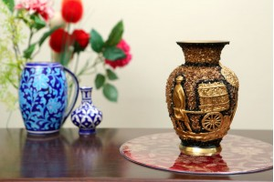 Brass Lacquer Polish Vase With Stone Work