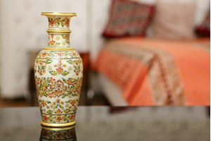 Marble Vase With Floral Design