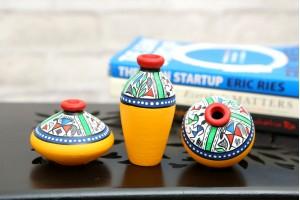 Terracotta Warli Handpainted Pots