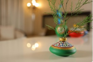 Terracotta Flat Warli Vase-10 cm