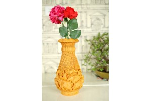 Wood Carved Flower Vase